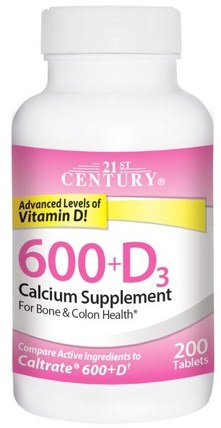 600+D3, Calcium Supplement, 200 Tablets by 21st Century, 補充劑,礦物質,鈣維生素d HK 香港