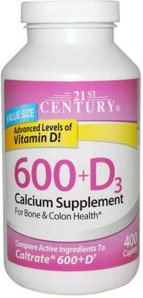 600+D3, Calcium Supplement, 400 Caplets by 21st Century, 補充劑,礦物質,鈣維生素d HK 香港