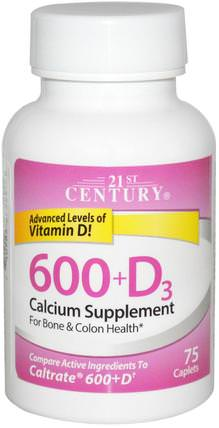 600+D3, Calcium Supplement, 75 Caplets by 21st Century, 補充劑,礦物質,鈣維生素d HK 香港