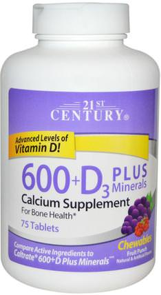 600+D3 Plus Minerals Chewables, Fruit Punch, 75 Tablets by 21st Century, 補充劑,礦物質,鈣維生素d HK 香港