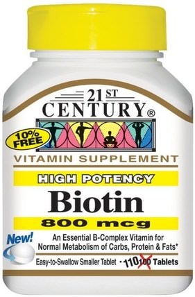 Biotin, High Potency, 800 mcg, 110 Tablets by 21st Century, 維生素,維生素B,生物素 HK 香港