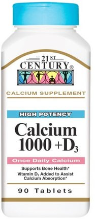 Calcium 1000 + D3, 90 Tablets by 21st Century, 補充劑,礦物質,鈣維生素d HK 香港