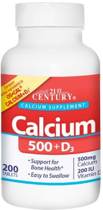 Calcium 500 + D3, 200 Tablets by 21st Century, 補充劑,礦物質,鈣維生素d HK 香港