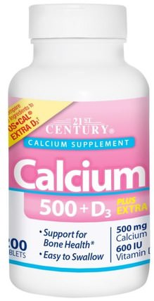 Calcium 500 + D3 Plus Extra D3, 200 Tablets by 21st Century, 補充劑,礦物質,鈣維生素d HK 香港