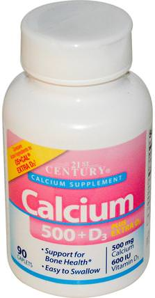 Calcium 500 + D3 Plus Extra D3, 90 Tablets by 21st Century, 補充劑,礦物質,鈣維生素d HK 香港