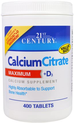 Calcium Citrate Maximum + D3, 400 Tablets by 21st Century, 補充劑,礦物質,檸檬酸鈣,鈣維生素d HK 香港