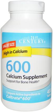Calcium Supplement 600, 400 Tablets by 21st Century, 補品,礦物質,碳酸鈣 HK 香港