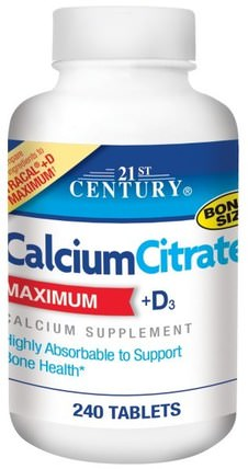 CalciumCitrate, Maximum, +D3, 240 Tablets by 21st Century, 補品,礦物質,檸檬酸鈣 HK 香港