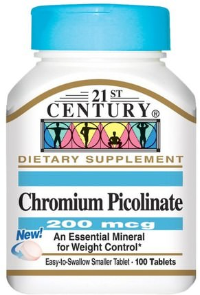 Chromium Picolinate, 200 mcg, 100 Tablets by 21st Century, 補充劑,礦物質,吡啶甲酸鉻 HK 香港