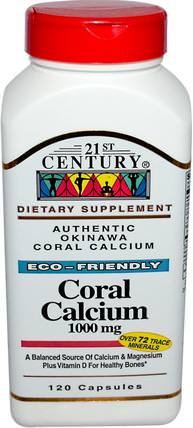 Coral Calcium, 1000 mg, 120 Capsules by 21st Century, 補品,礦物質,鈣,珊瑚鈣 HK 香港