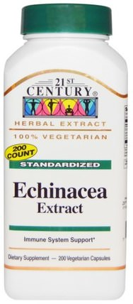 Echinacea Extract, 200 Veggie Caps by 21st Century, 補充劑,抗生素,紫錐花膠囊片 HK 香港