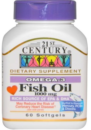 Fish Oil, 1000 mg, 60 Softgels by 21st Century, 補充劑,efa omega 3 6 9(epa dha),魚油,魚油軟膠囊 HK 香港