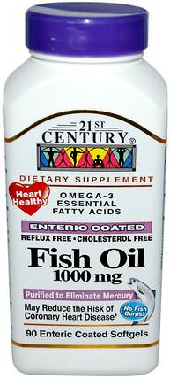 Fish Oil, 1000 mg, 90 Enteric Coated Softgels by 21st Century, 補充劑,efa omega 3 6 9(epa dha),魚油,魚油軟膠囊 HK 香港