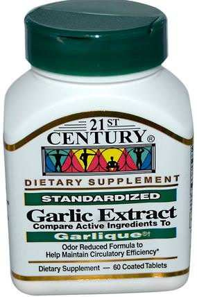 21st Century, Garlic Extract, Standardized, 60 Coated Tablets 補充劑,抗生素,大蒜
