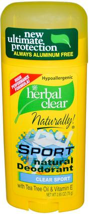 Herbal Clear Naturally!, Sport Natural Deodorant, Clear Sport, 2.65 oz (75 g) by 21st Century, 洗澡,美容,除臭劑 HK 香港