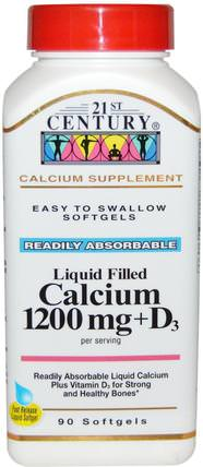Liquid Filled Calcium 1200 mg + D3, 90 Softgels by 21st Century, 補充劑,礦物質,鈣維生素d HK 香港