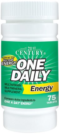 One Daily Energy, 75 Tablets by 21st Century, 維生素,多種維生素,能量 HK 香港
