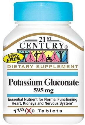 Potassium Gluconate, 595 mg, 110 Tablets by 21st Century, 補品,礦物質,葡萄糖酸鉀 HK 香港