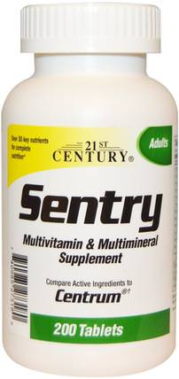 Sentry, Multivitamin & Multimineral Supplement, 200 Tablets by 21st Century, 維生素,多種維生素,礦物質,多種礦物質 HK 香港