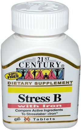 Stress B, with Iron, 66 Tablets by 21st Century, 維生素,維生素b複合物 HK 香港