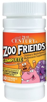 Zoo Friends Complete, 60 Chewable Tablets by 21st Century, 維生素,多種維生素,兒童多種維生素 HK 香港