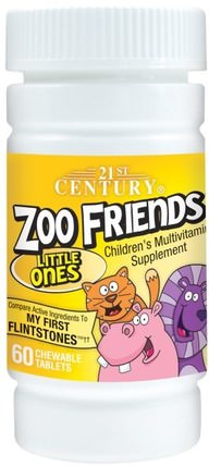 Zoo Friends, Little Ones, Childrens Multivitamin Supplement, 60 Chewable Tablets by 21st Century, 維生素,多種維生素,兒童多種維生素 HK 香港