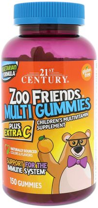 Zoo Friends Multi Gummies, Plus Extra C, 150 Gummies by 21st Century, 維生素,多種維生素,兒童多種維生素,多種維生素 HK 香港