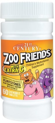 Zoo Friends with Extra C, 60 Chewable Tablets by 21st Century, 維生素,多種維生素,兒童多種維生素 HK 香港