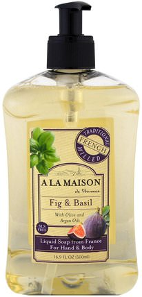 Hand and Body Soap, Fig and Basil, 16.9 fl oz (500 ml) by A La Maison de Provence, 洗澡,美容,肥皂,沐浴露 HK 香港