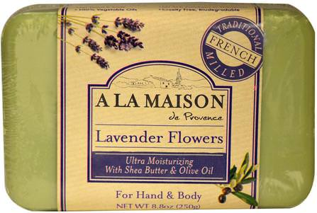 Hand & Body Bar Soap, Lavender Flowers, 8.8 oz (250 g) by A La Maison de Provence, 洗澡,美容,肥皂 HK 香港