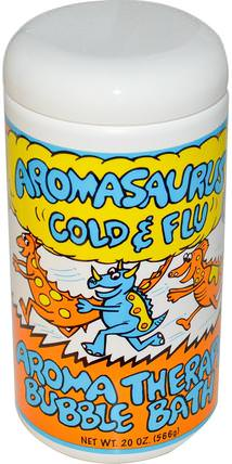 Aromasaurus Cold & Flu, Aroma Therapy Bubble Bath For Children, 20 oz (566 g) by Abra Therapeutics, 洗澡,美容,泡泡浴鹽 HK 香港