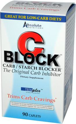 C Block, Carb / Starch Blocker, 90 Caplets by Absolute Nutrition, 補充劑,白芸豆提取物2期 HK 香港