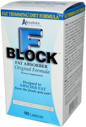FBlock, Fat Absorber, 90 Capsules by Absolute Nutrition, 健康,飲食,減肥,脂肪燃燒器 HK 香港