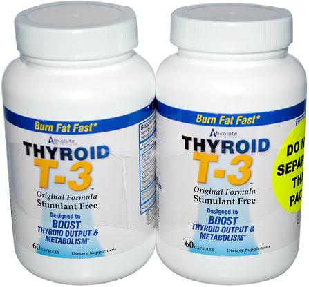Thyroid T-3, Original Formula, 2 Bottles, 60 Capsules Each by Absolute Nutrition, 健康,甲狀腺,減肥,飲食,脂肪燃燒器 HK 香港