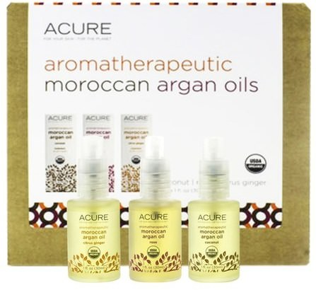 Aromatherapeutic Moroccan Argan Oils Trio Set, Coconut, Rose, Citrus Ginger, 3.1 fl oz (30 ml) Each by Acure Organics, 沐浴,美容,禮品套裝,沐浴禮品套裝,摩洛哥堅果油 HK 香港