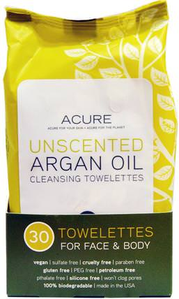 Cleansing Towelettes, For Face & Body, Unscented, 30 Towelettes by Acure Organics, 洗澡,美容,摩洛哥浴 HK 香港