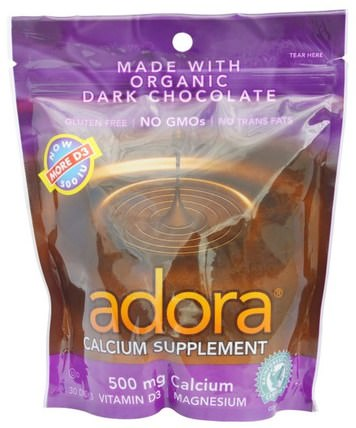 Calcium Supplement, Organic Dark Chocolate, 30 Disks by Adora, 鈣,adora HK 香港