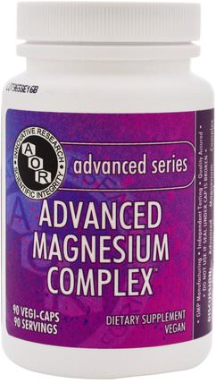 Advanced Magnesium Complex, 90 Veggie Caps by Advanced Orthomolecular Research AOR, 補充劑,礦物質,鈣和鎂 HK 香港