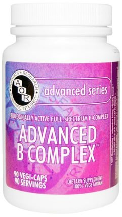 Advanced Series, Advanced B Complex, 90 Veggie Caps by Advanced Orthomolecular Research AOR, 維生素,維生素b複合物 HK 香港