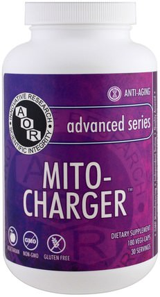 Advanced Series, Mito-Charger, 180 Veggie Caps by Advanced Orthomolecular Research AOR, 補充劑,輔酶q10,coq10 HK 香港