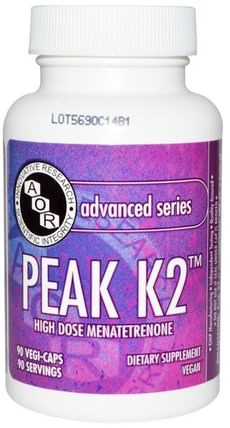 Advanced Series, Peak K2, 90 Veggie Caps by Advanced Orthomolecular Research AOR, 維生素,維生素K HK 香港