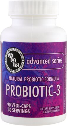 Advanced Series, Probiotic-3, 90 Veggie Caps by Advanced Orthomolecular Research AOR, 補充劑,益生菌,穩定的益生菌 HK 香港