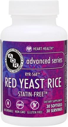 Advanced Series, Red Yeast Rice, 30 Softgels by Advanced Orthomolecular Research AOR, 補品,紅曲米 HK 香港