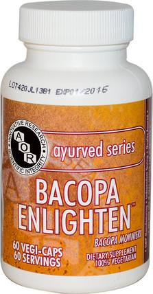 Ayurved Series, Bacopa Enlighten, 60 Veggie Caps by Advanced Orthomolecular Research AOR, 草藥,bacopa(brahmi) HK 香港