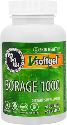 Borage 1000, 90 Softgels by Advanced Orthomolecular Research AOR, 補充劑,efa omega 3 6 9(epa dha),琉璃苣油,健康,皮膚 HK 香港