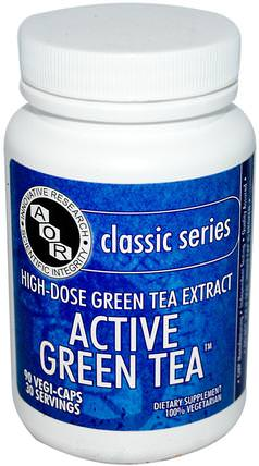Classic Series, Active Green Tea, 90 Veggie Caps by Advanced Orthomolecular Research AOR, 補充劑,抗氧化劑,綠茶 HK 香港