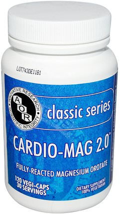 Classic Series, Cardio-Mag 2.0, 120 Veggie Caps by Advanced Orthomolecular Research AOR, 補品,礦物質,鎂 HK 香港