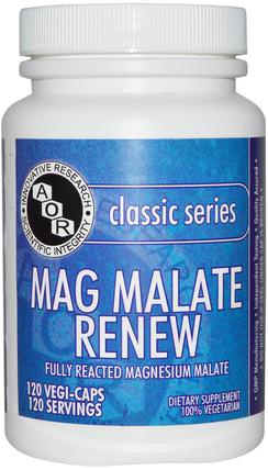 Classic Series, Mag Malate Renew, 120 Veggie Caps by Advanced Orthomolecular Research AOR, 補充劑,礦物質,蘋果酸鎂 HK 香港