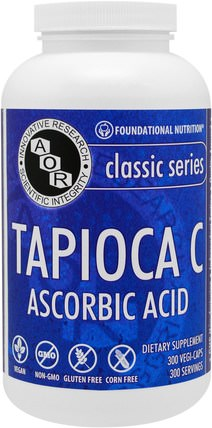 Classic Series, Tapioca C, Ascorbic Acid, 300 Vegi-Caps by Advanced Orthomolecular Research AOR, 維生素,維生素c HK 香港