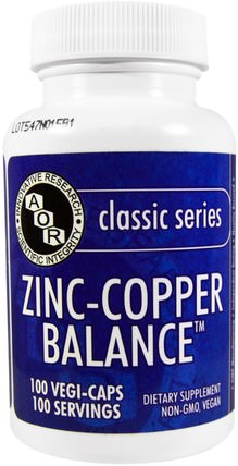 Classic Series, Zinc-Copper Balance, 100 Veggie Caps by Advanced Orthomolecular Research AOR, 補品,礦物質,銅 HK 香港